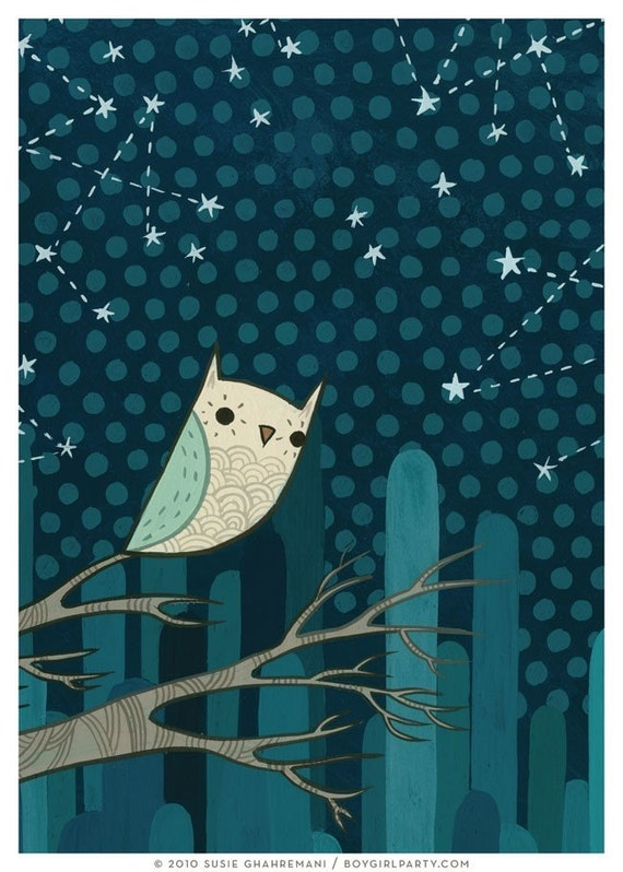 Owl Art Constellation Art Owl Artwork Constellation Artwork Owl Art Print Constellation Art Print - Artwork for Nursery - 5x7 Print
