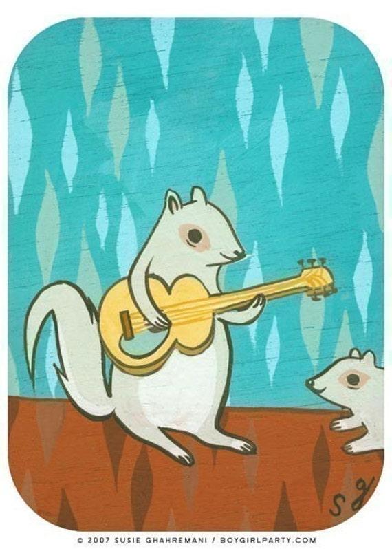 animal art - SQUIRREL art print guitar art by Susie Ghahremani, folk rock music art print - squirrel gift musical gifts animal artwork