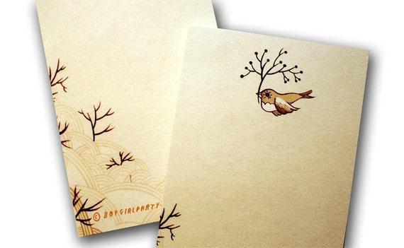 Bird NOTEPAD stationery, bird note paper - cute bird stationary kraft paper note pad