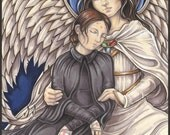 Saint Gemma & Her Guardian Angel Signed Art Print-You Choose-2.5x3.5, 5x7 or 8x10 In., Patron of Students Pharmacists Young Catholic Icon
