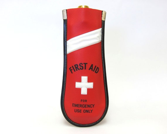 "Vintage 1960s Novelty Drinking Flask in Fire Engine Red with Belt Loop - ""First Aid"""