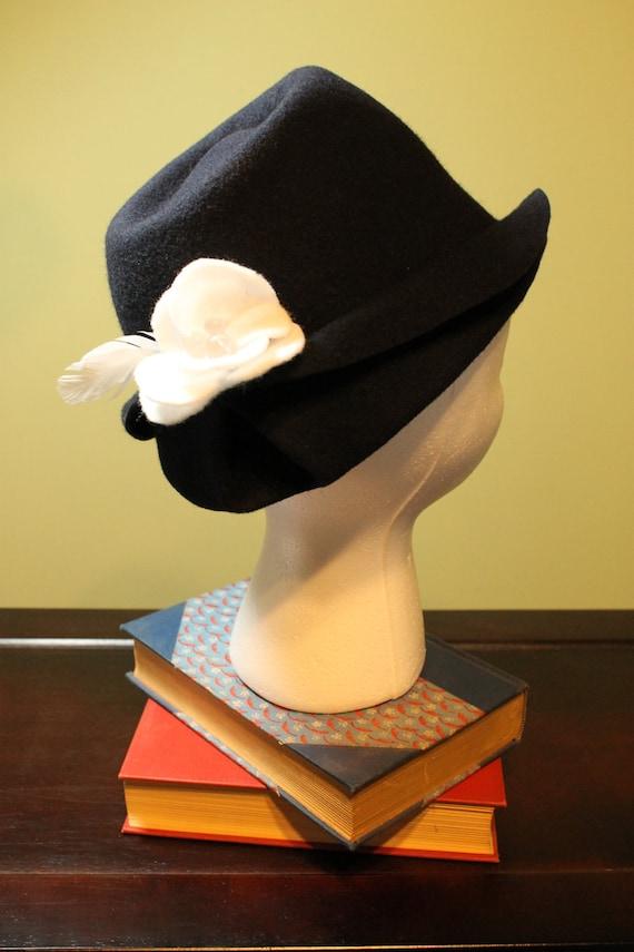 SALE! Navy Blue Wool Fedora Hat with Feathers & Handmade Flower OOAK