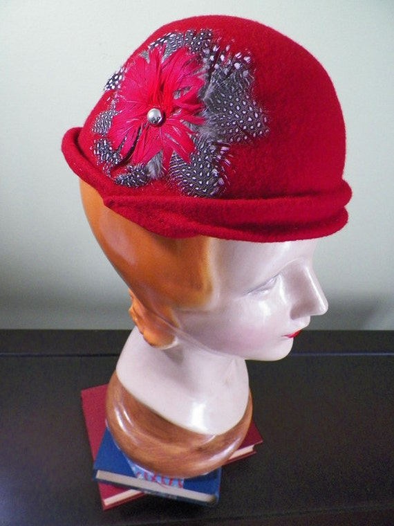 SALE Crimson Red Hand Blocked Wool Cloche Style Cocktail Hat with Feathers (One-of-a-Kind)