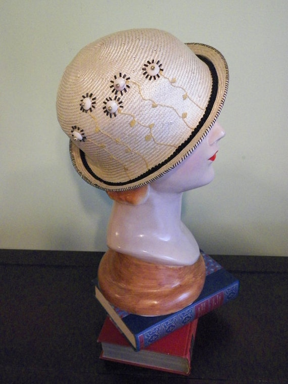 Hand Beaded Neutral Straw Bowler with Hand Embroidery (One-of-a-Kind)