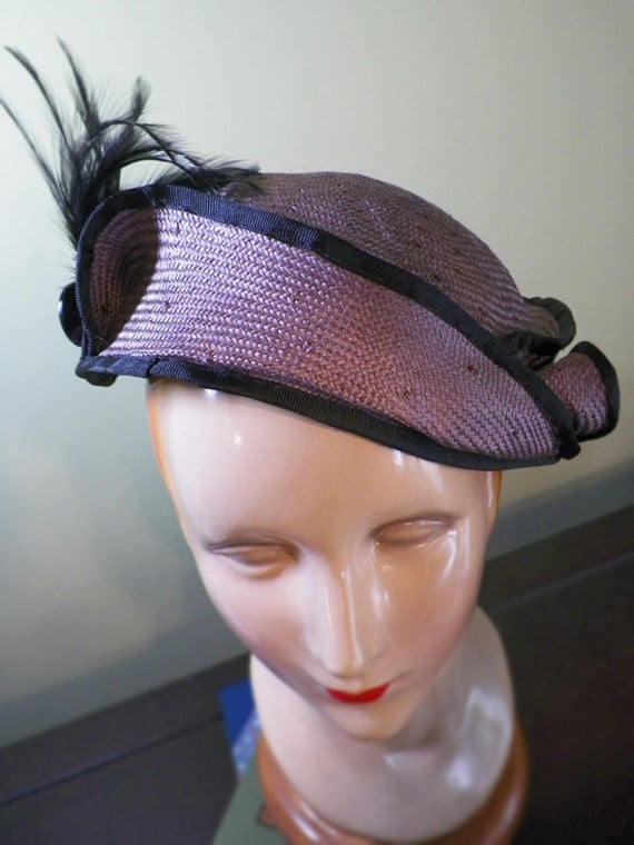 SALE Misty Lilac Blocked Straw Hat with Feathers OOAK