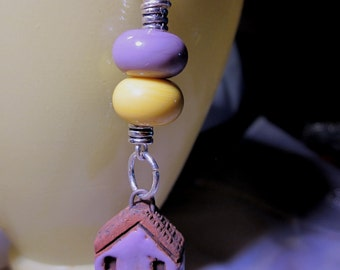 Ceramic Violet Yellow Lampwork House Necklace