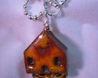 Topaz Amber Ceramic House Necklace