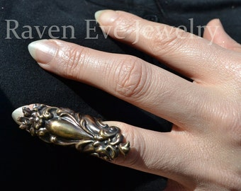 Elegant Knuckle Ring Rivendale Solid Brass armor Ring Handmade in USA