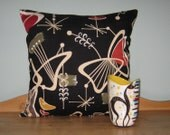 Retro Throw Pillow Cover Barkcloth - Atomic Boomerangs Noir, Mid Century Pillow, Retro Cushion