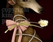 Glamour Greyhound Portrait Signed Print