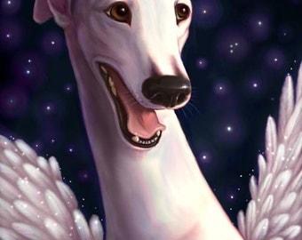 Sweet Smiling White Angel Celestial Greyhound Signed Print
