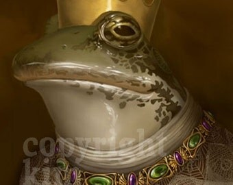 Fairy Tale Frog Prince Portrait Toad Signed Print