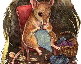 Knitting Mouse Signed Print