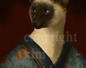 Siamese Cat Kimono Kitty Signed Print