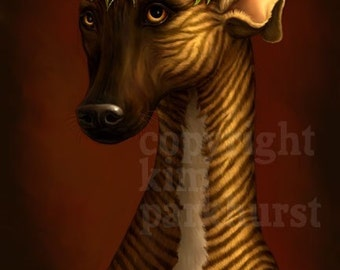 Brindle Greyhound Whippet Flowers Portrait Signed Print