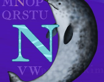 N Narwhal Alphabet Print 8x10 Signed