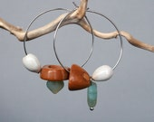 mismatched earrings with natural seeds and nut shell - natural jewelry - hoop earrings