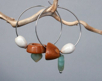 mismatched earrings with natural seeds and nut shell - natural jewelry - beaded hoops - mint green