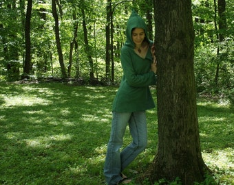 organic womens clothing - hooded elf / fairy shirt - 100% hemp and organic cotton - custom made to order - hand dyed