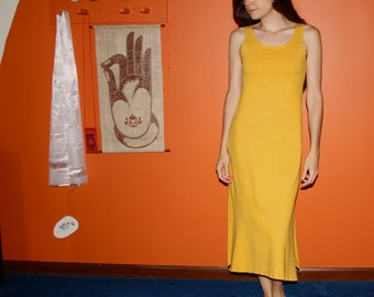 organic nightgown / long tank dress with side slits - 100% hemp and organic cotton - custom made to order - hand dyed