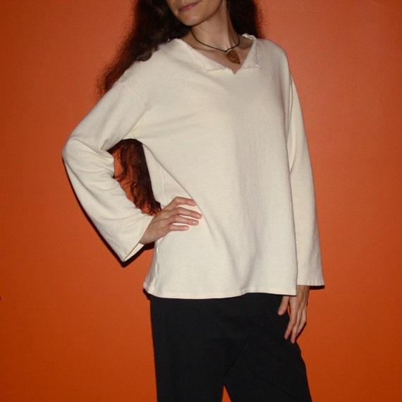 hemp clothing - long sleeve v-neck sweatshirt - 100% hemp and organic cotton - custom made to order - unisex
