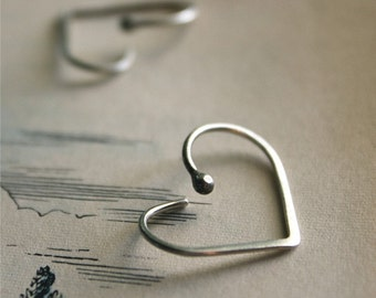 Heart Hoop Earrings - Sterling Silver - Minimalist