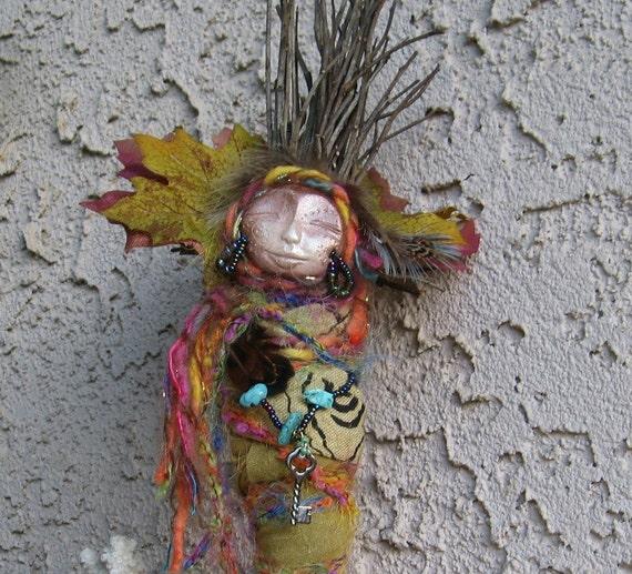 RESERVED Rainbow Magic,  Dryad Spirit,  Gypsy Bohemian Art Doll OOAK