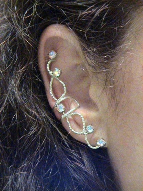Pair of AB Crystal rhinestone ear cuffs in silverfilled
