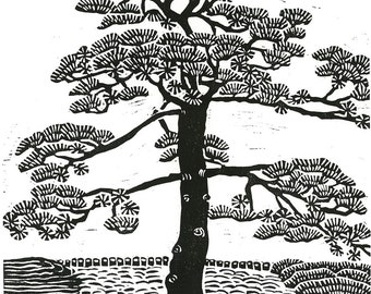 JAPANESE PINE TREE - Linocut Print - Black and White Landcsape Print 9x13 - Ready to Ship