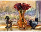 Art with Roses a Bird and...