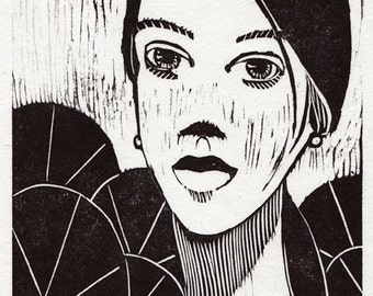 Original Portrait Woodcut Linocut Matted to 11x14 Woman Lily Pads Face Fantasy DelPesco