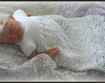 Tiny Blossoms Christening Gown - Crochet Pattern Sizes Reborn - 18 mos