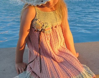 Juliet Dress - Crochet Pattern Sundress and Sunhat, Sizes 6 mos - girls size 10