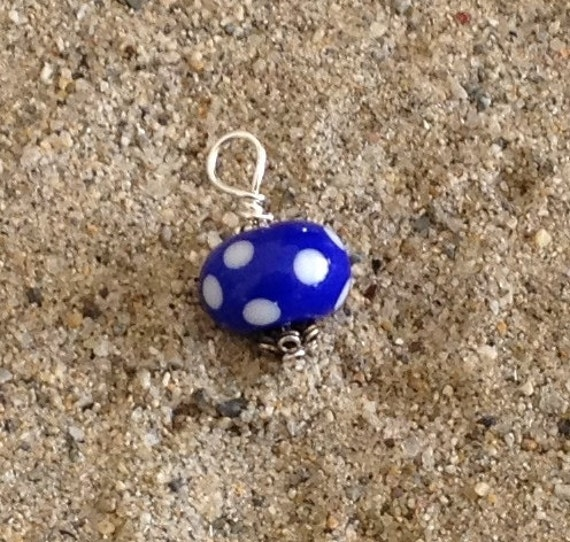 Wire wrapped beaded charm pendant blue and white polka dot lampwork