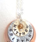 Personalized Three Disc Hand Stamped Copper, Nickel and Brass Necklace with tiny pearl