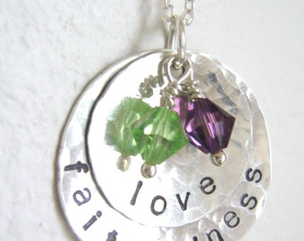 love and faithfulness - Personalized Hand Stamped Sterling Silver Necklace with two swarovski crystals