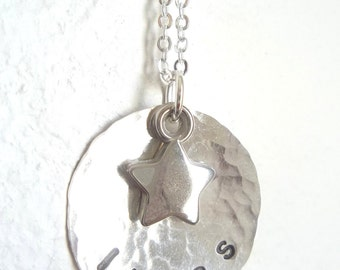 Personalized Hand Stamped Sterling Silver Necklace with silver star charm