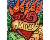 Amor Flaming Heart - Day of the Dead ATC / Art Card / ACEO Print