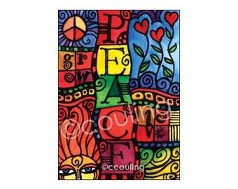 PEACE -  Journal Series ATC / Art Card / ACEO Print / Artist Trading Card