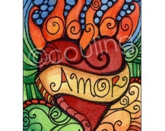 Day of the Dead Art - Amor Flaming Undying Love Heart - ACEO Print by Artist, Cindy Couling