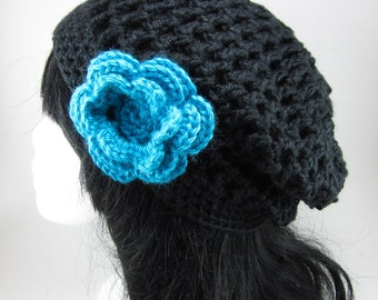 Lacy Beanie with Large Flower Clip - Women Crochet Lacy Black Flower Hat