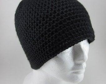 Black Beanie - Adult Crochet Beanie Hat