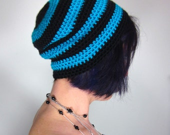 Punk Rock Beanie - Unisex Black and Teal Crocheted Hat