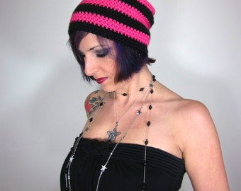 Punk Rock Beanie - Unisex Black and Hot Pink Crocheted Hat