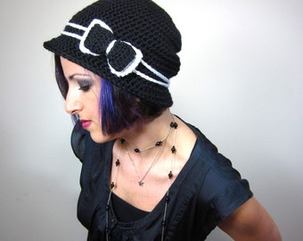 The Love Hat - Black and White Womens Crocheted Cloche with bow clip