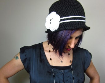 The Love Hat - Black and White Womens Crocheted Cloche with flower clip