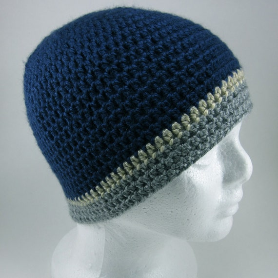 Navy Striped Beanie - Adult Crocheted Beanie