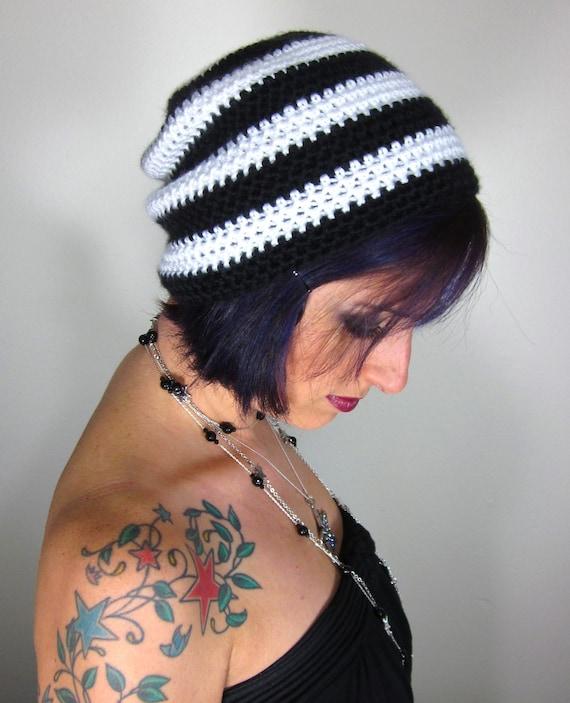 Punk Rock Beanie - Unisex Black and White Crocheted Hat