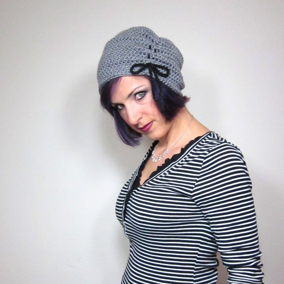 The Victorian Slouch Hat in Grey - Womens Crocheted Hat