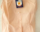 50s Rockabilly Girls Shirt Vintage - Apricot Peach Melon - Pastel Blouse - XXS - New Old Stock - NOS